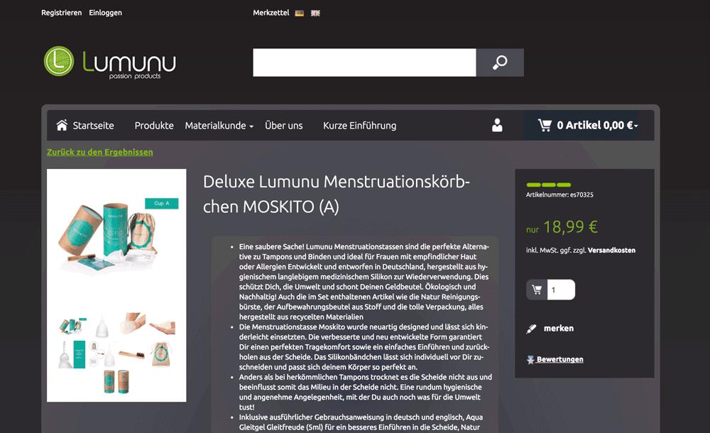 Die Webseite der Lumunu Menstruationstasse
