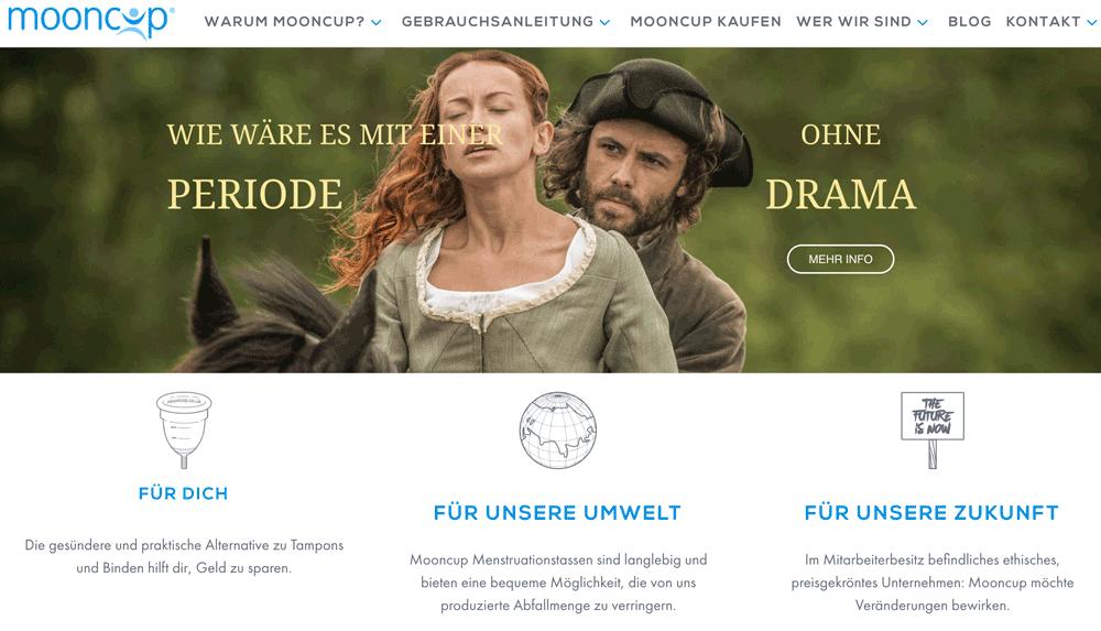 Die Mooncup Webseite